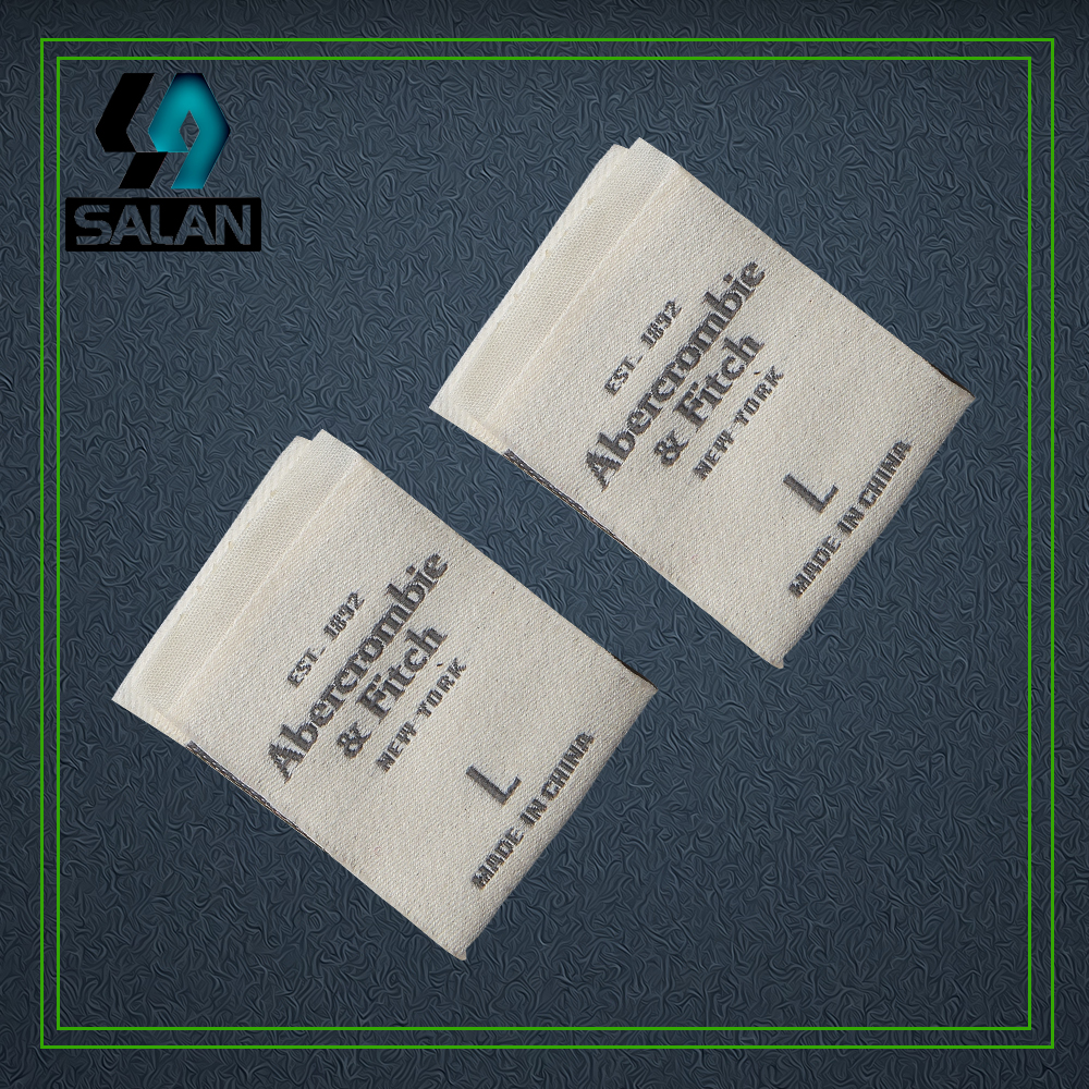 Customized center fold Woven labels for Garment Shirt Shoes Bags fabric Clothing Labels Embroidered sewing Tags