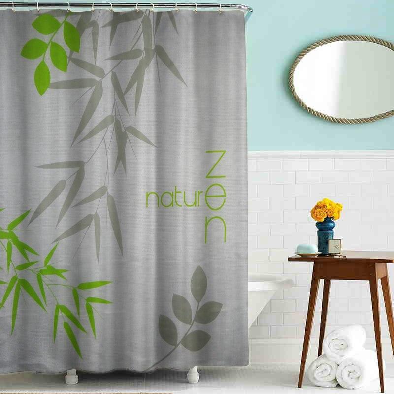 Custom bamboo shower curtain European 3D Stone Flower Print Polyester Fabric shower curtain Bathroom Shower Hotel Curtains
