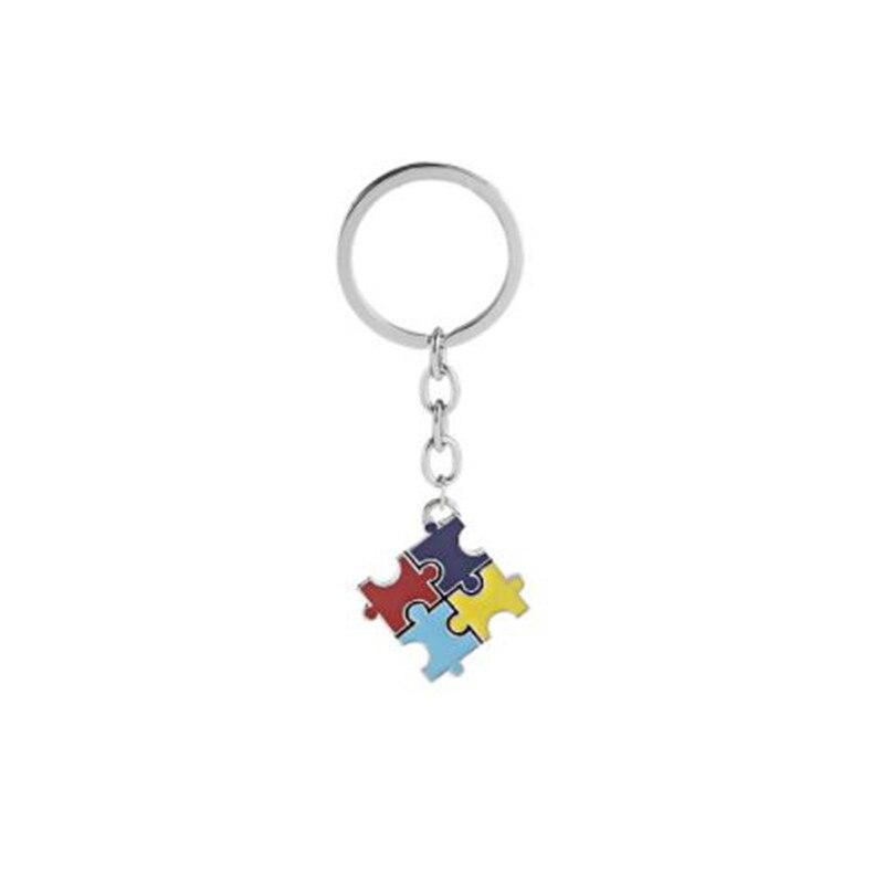 Wkoud autismo consciência quebra-cabeça chaveiro esperança colorido quebra-cabeça peça impressa pingente chaveiro saco charme presente