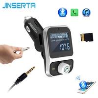 JINSERTA Carro MP3 Player Bluetooth transmissor FM para carro 2 portas USB carregador de Apoio Pendrive U Disco cartão TF AUX Entrada E Saída De Áudio