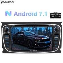 Pumpkin2 Din7 «Android 7,1 автомобильный dvd-плеер gps навигация четырехъядерный 2 г ram 32 г rom стерео для Ford Mondeo/Focus Wifi FM Rds радио