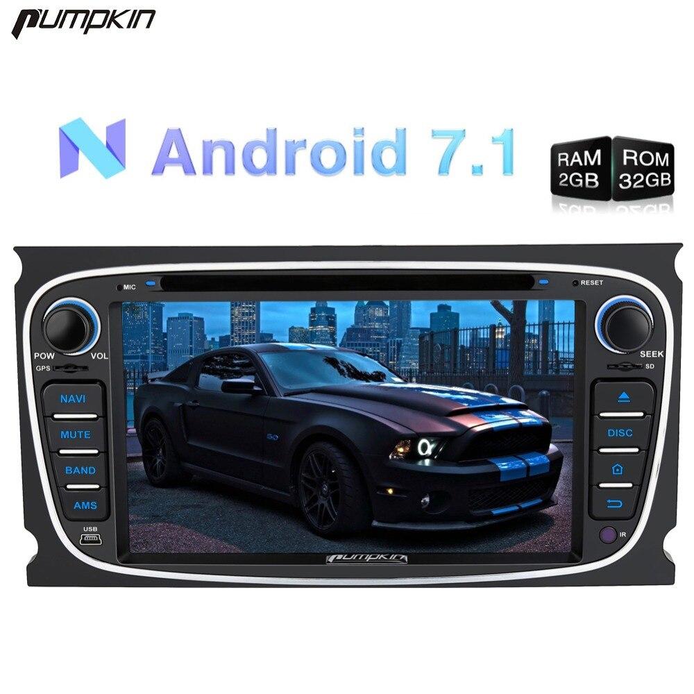 Pumpkin2 Din7 Android 7.1 lecteur dvd De Voiture navigation gps Quad-core 2G RAM 32G ROM Stéréo Pour Ford mondeo/Focus Wifi FM Rds Radio