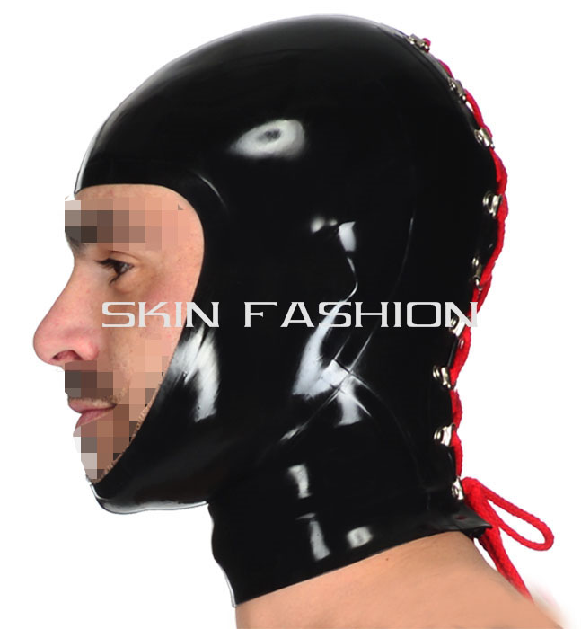 Free shipping Hot sale open face hood latex masks fashion with back lace