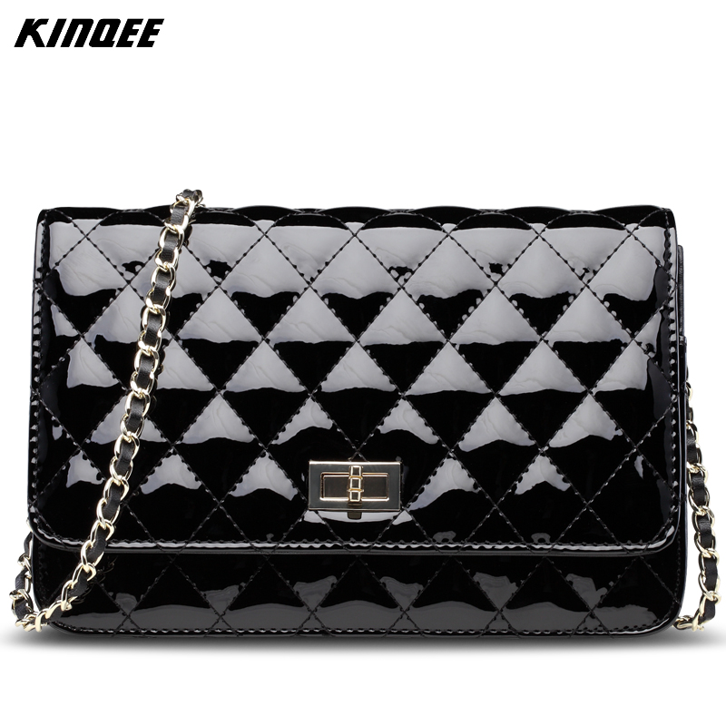 Patent Leather Chains Women Messenger Bag Minaudiere Classic Diamond Lattice Cover Luxury Designer Ladies Crossbody Bags 20CM цена