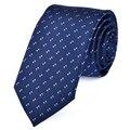 Del hombre Nuevo Clásico de Rayas A Cuadros de Poliéster Tejido Negro Azul Tie Wedding Party Negocios Corbata Casual Hombres Novio Corbatas Hombre