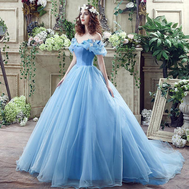 920c61126 New Cinderella Ball Gown Wedding Dress 2016 Cheap Off Shoulder Light Blue  Organza Princess Charming Bridal Gown Robe De Mariage