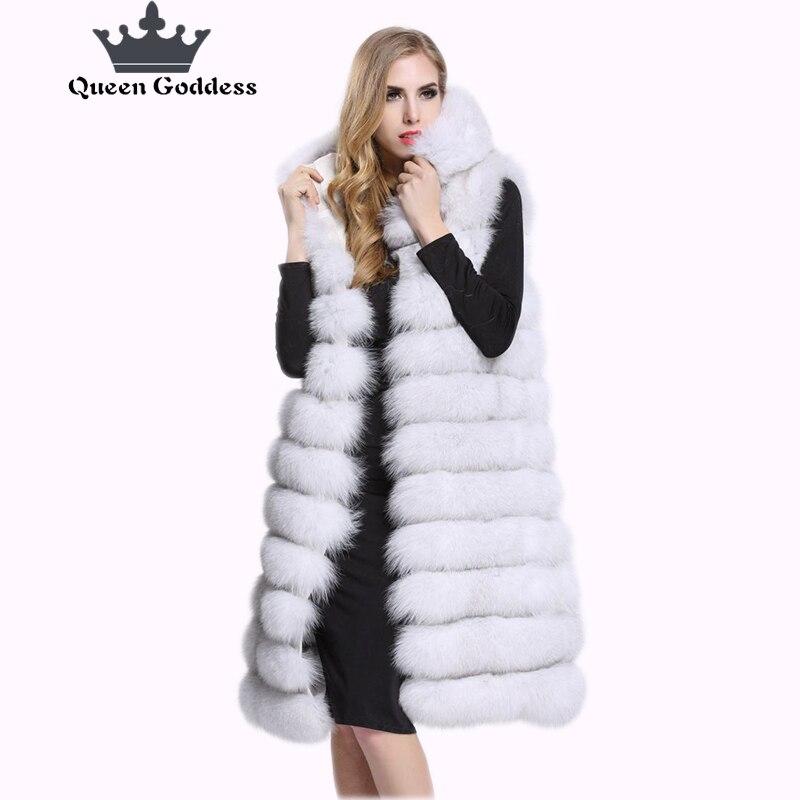 2017 a Europa e os Estados Unidos vendendo modelos de imitação de pele de raposa com pele casaco de pele longo parágrafo colete sem mangas