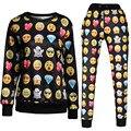 Hot venda nova 2017 marca emoji camisola e calças 3D emoji calças mulheres roupas emoji sudaderas mujer XQ903