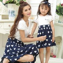 Family Set Hearts Dress Mother Daughter Dresses Clothing Mom and Clothes Matching Outfits ML06