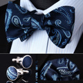 BZP09BR Navy Blue Paisley Men Silk Self Bow Tie handkerchief Cufflinks set Pocket Square Classic Party Wedding