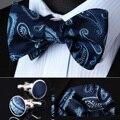 Bzp09br синий пейсли мужчины самостоятельная галстук-бабочку платок запонки комплект карманный площадь классический ну вечеринку свадьба