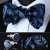 Bzp09br azul marino Paisley Men seda auto pajarita pañuelo gemelos set Pocket Square partido clásico de la boda