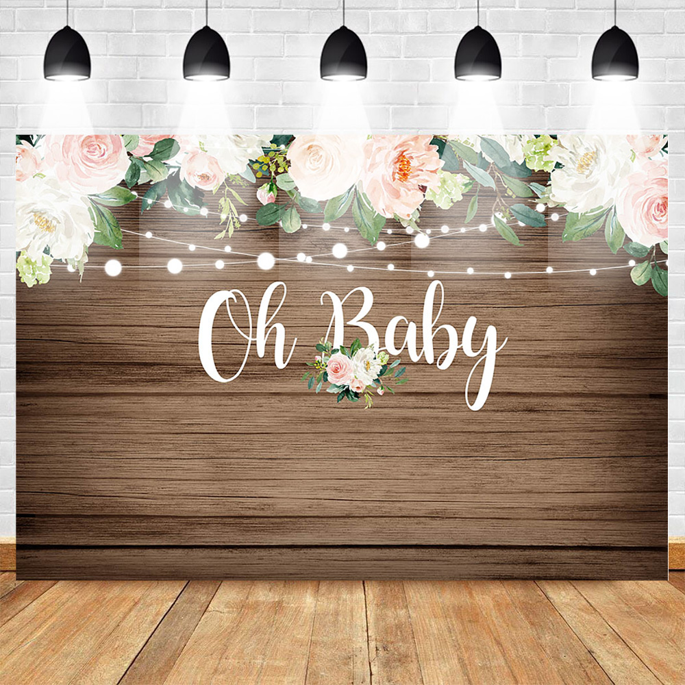 Mehofoto Wooden Floor Background Baby Shower Backdrop Flower Backgrounds Photography Light Newborn Party Banner Decoration