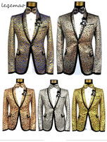 (jacket+pants+bow tie)male suit print casual singer dancer show DS dance costumes outerwear coat DJ jazz nightclub performance s