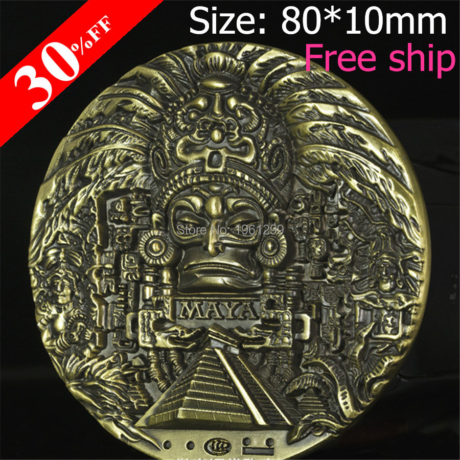 New 80*10mm Mayan Calendar Prophecy Old Cultural Souvenir Antique Bronze Plated Metal Craft Coin Free Shipping