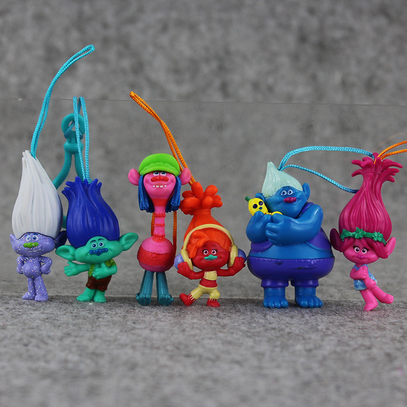 6pcs set 2016 Movie Trolls Figure PVC Toy Keychain Kids Doll Poupee Bridget Poppy DJ Suki