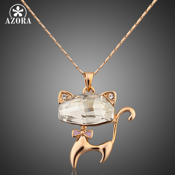 AZORA Gold Color Stellux Austrian Crystals Lovely Cat Pendant Necklace TN0013