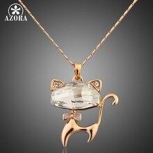 Azora tn0013 stellux cristales austríacos gato encantador colgante de collar de color oro