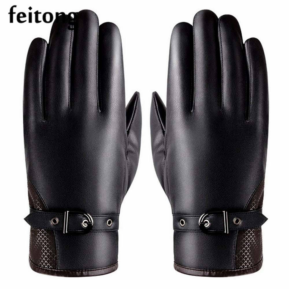Gant mens leather gloves - Feitong Newly Mens Leather Gloves Thermal Screen Winter Gloves Black Gants Homme Hand Warmer Outdoor Gloves