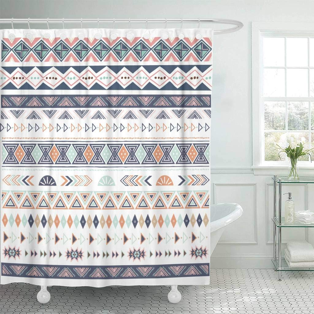 Us 18 73 25 Off Fabric Shower Curtain With Hooks Abstract Tribal Border Ribbon Collections African Aztec Bohemian Boho Canvas Making In Shower