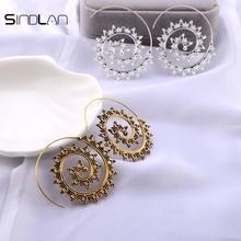 Sindlan Earrings New Ethnic Wind Indian Jewelry Vintage Bohemianspiral Hollow Pattern Charm Flower Earrings For Women