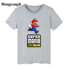 2017 new Luxury Super Mario Cartoon T-shirt Men Hip Hop Short Sleeve T Shirts and T Shirt Men Print in Tee Shirts Loose