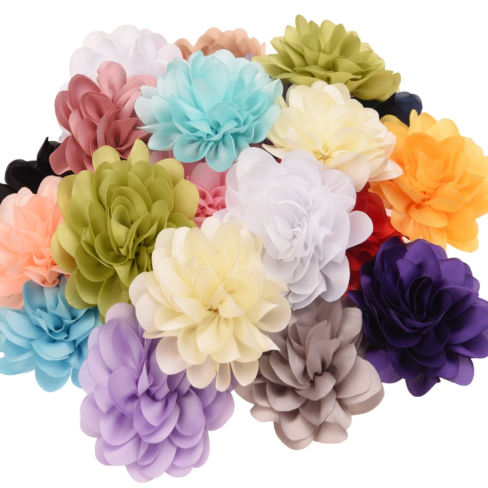 20pcs Chiffon Ruffled 6cm Hair Flower Fashion Hair Accessories DIY Accessory Wedding Decoration Flower Without Clips