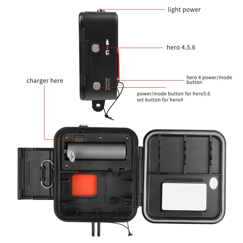 FGHGF 1000LM buceo luz LED impermeable funda para GoPro Hero 7 6 5 negro 4 3 + Cámara de Acción plateada con accesorio para Go Pro 7 6 - 3