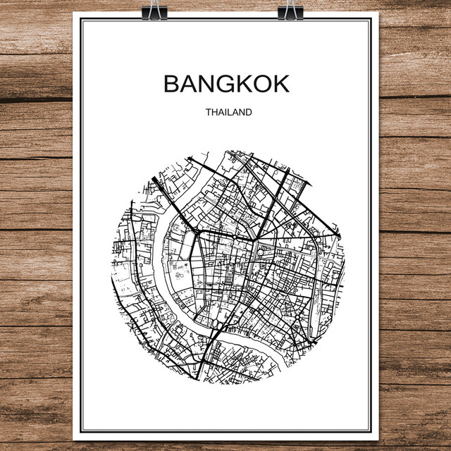 World city street map bangkok thailand print poster abstract coated paper bar cafe living room home