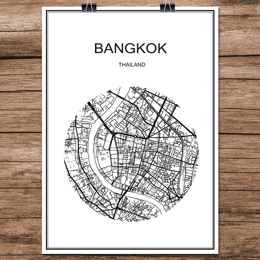 World City Street Map Bangkok Thailand Print Poster Abstract Coated Paper Bar Cafe Living Room Home Decor Wall Sticker 42x30cm