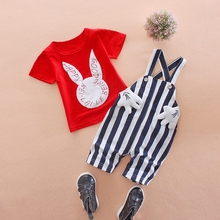 WYNNE GADIS Summer Baby's Sets Girls Rabbit Short Sleeve T-shirt Tops + Striped Overalls Pant Kids Tracksuits Two Pieces Suits