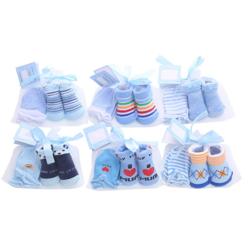 Baby Socks+Gloves Set For Baby Girls Infant Cotton Soft Unisex 0-6 Months Newborn Gift Anti-Scratch Mittens Baby Accessories