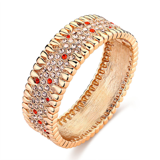 Fashion India Jewelry Colorful Austria Crystal Big Bracelets For Women Plated Gold Rhinestone Zircon Bangles Wedding Bridal Gift