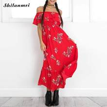 2017 Women Sexy Floral Long Dress Off Shoulder Slash Neck Red Boho Chic  Runway Beach Tunic Ruffle Maxi Dresses Party Robe Summer 2023a597a28b