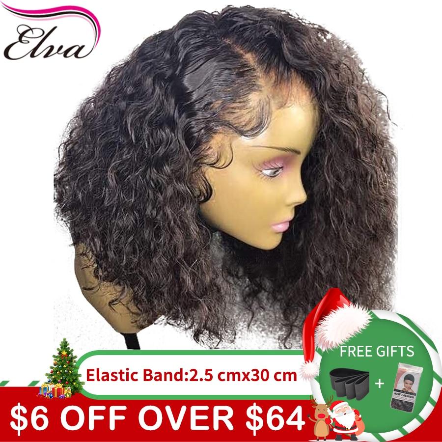 Вьющиеся 360 синтетический Frontal шнурка волос Парик предварительно сорвал с волосами младенца 180% Плотность короткие натуральные волосы боб И...
