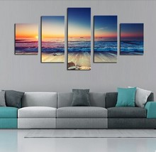 5 Piece Canvas Wall Art Sunrise Ocean Waves Seascape Pictures HD Printed Picture For Living Room Print Poster