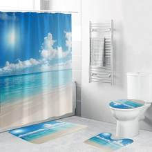 4PCS Non Slip Toilet Polyester Cover Mat Set Bathroom Shower Curtain World Anti Slip Toilet Pattern Flannel Toilet Seat5pz(China)
