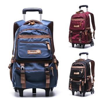 Grades 4-9 Kids Trolley Schoolbag Book Bags boys girls Backpack waterproof Removable Children School Bags With 3 Wheels Stairs School Bags