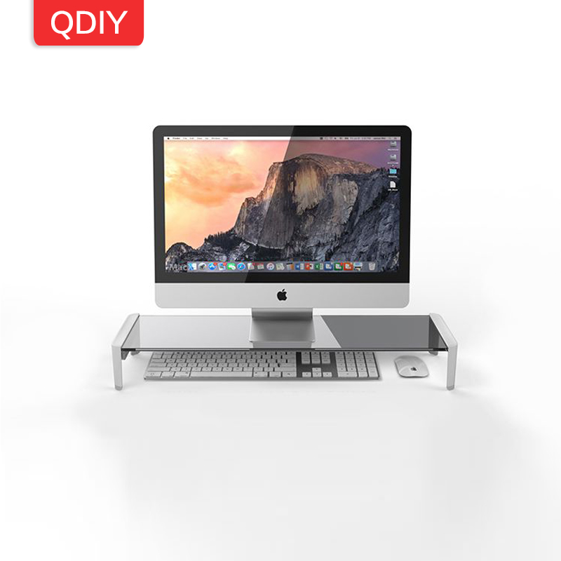 QDIY LCD ordinateur afficheur de bureau titulaire USB verre rehaussé étagères support moniteur titulaire