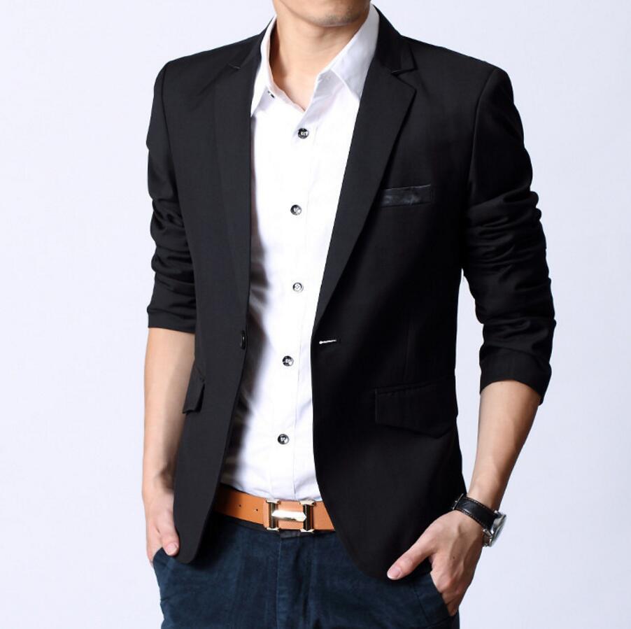 Fashion Korean Slim Fit Man Suit Jacket Mens Clothing Slim Style Suits Jean Black Business Sweatshirt High Quality