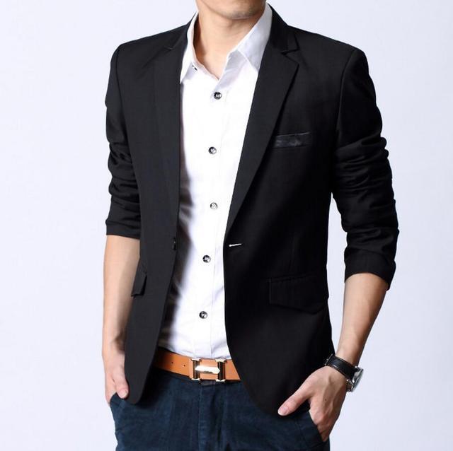 ba978b8d624e Mode Coréenne Slim Fit Homme Veste de Costume homme Vêtements Slim Style  Costumes Jean Noir Sweat