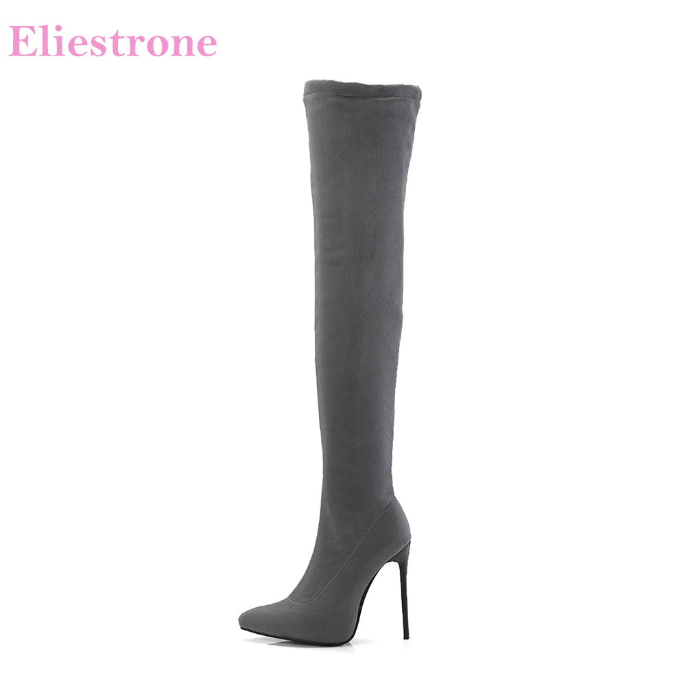 Brand New Fashion Winter Black Gray Women Thigh High Boots Stiletto Heels Lady Bridal Shoes S873
