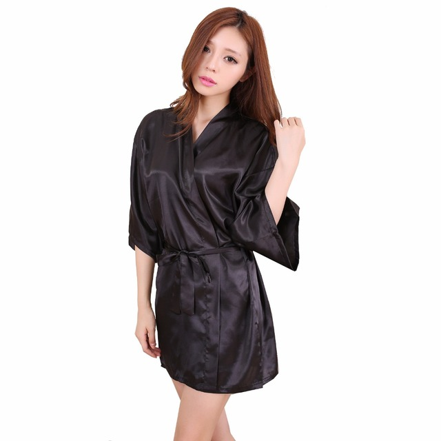 514277d16dce Seksi Hitam Cina Wanita Sutra Rayon Jubah Pendek Mini Lingerie Kimono Gaun  Malam Baju Tidur Pijama