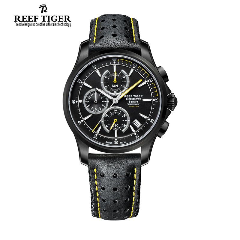 Reef Tiger/RT Mens Sport Quartz Watches with Chronograph and Date Black Steel Casual Stop Watch with Super Luminous RGA1663 reef tiger brand men s luxury swiss sport watches silicone quartz super grand chronograph super bright watch relogio masculino