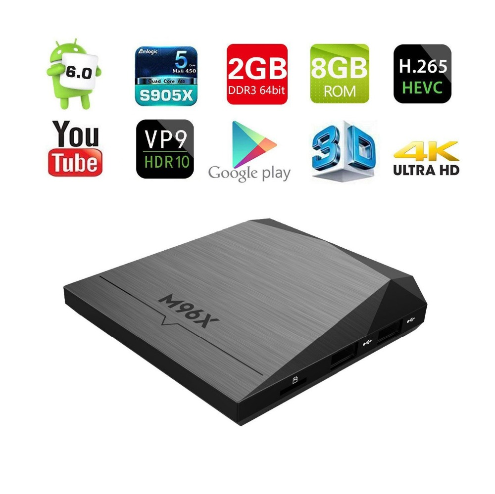M96X 10 unids Android 6.0 4 K TV BOX Amlogic S905X KODI 16.1 64bit A53 XBMC Quad