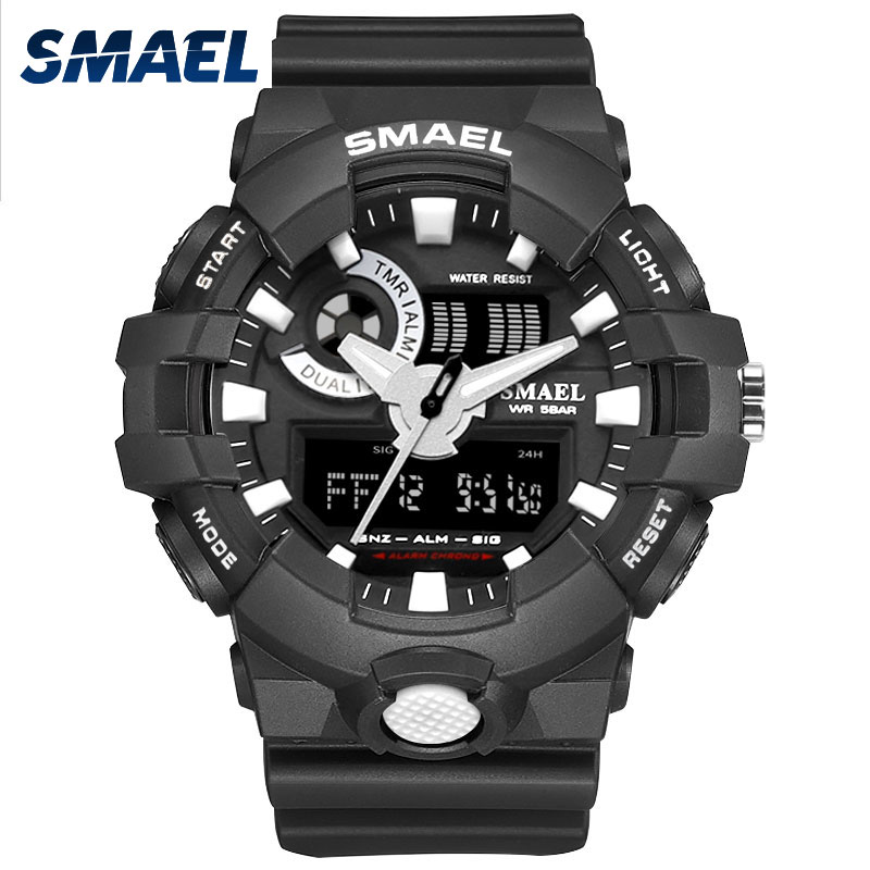 2017 New Sport Watch Smael Brand Wristwatches Fashion Casual Dual Time LED Clock Quartz 50Meters Waterproof Black Hot Clock 1642
