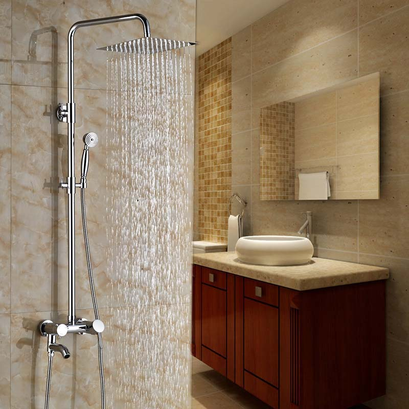 Polished Chrome Wall Mount Brass 8 Rainfall Shower Mixer Taps Single Handle Bath Tub Shower Faucet