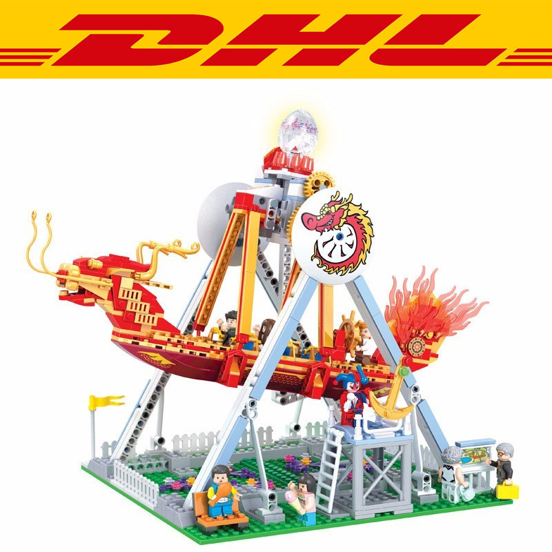 2017 New 710Pcs 7033 City LED Light Playground Pirate Ship Model Building Kits Blocks Bricks Children Toys For Compatible Gift new lepin 22001 pirate ship imperial warships model building kits block briks toys gift 1717pcs compatible