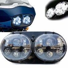 DOTได้รับการอนุมัติ90W Dual LEDไฟหน้าโปรเจคเตอร์สูง/ต่ำBeamสำหรับรถจักรยานยนต์Harleyรถจักรยานยนต์Road Glide 2004 2013