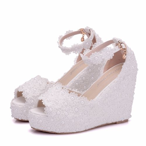 a35a39f085 Crystal Queen Women Sandals Elegant Wedges High Heels Platform Wedding Lace  Flower Shoes Bride Dress Shoes 11cm Open Toe Heels